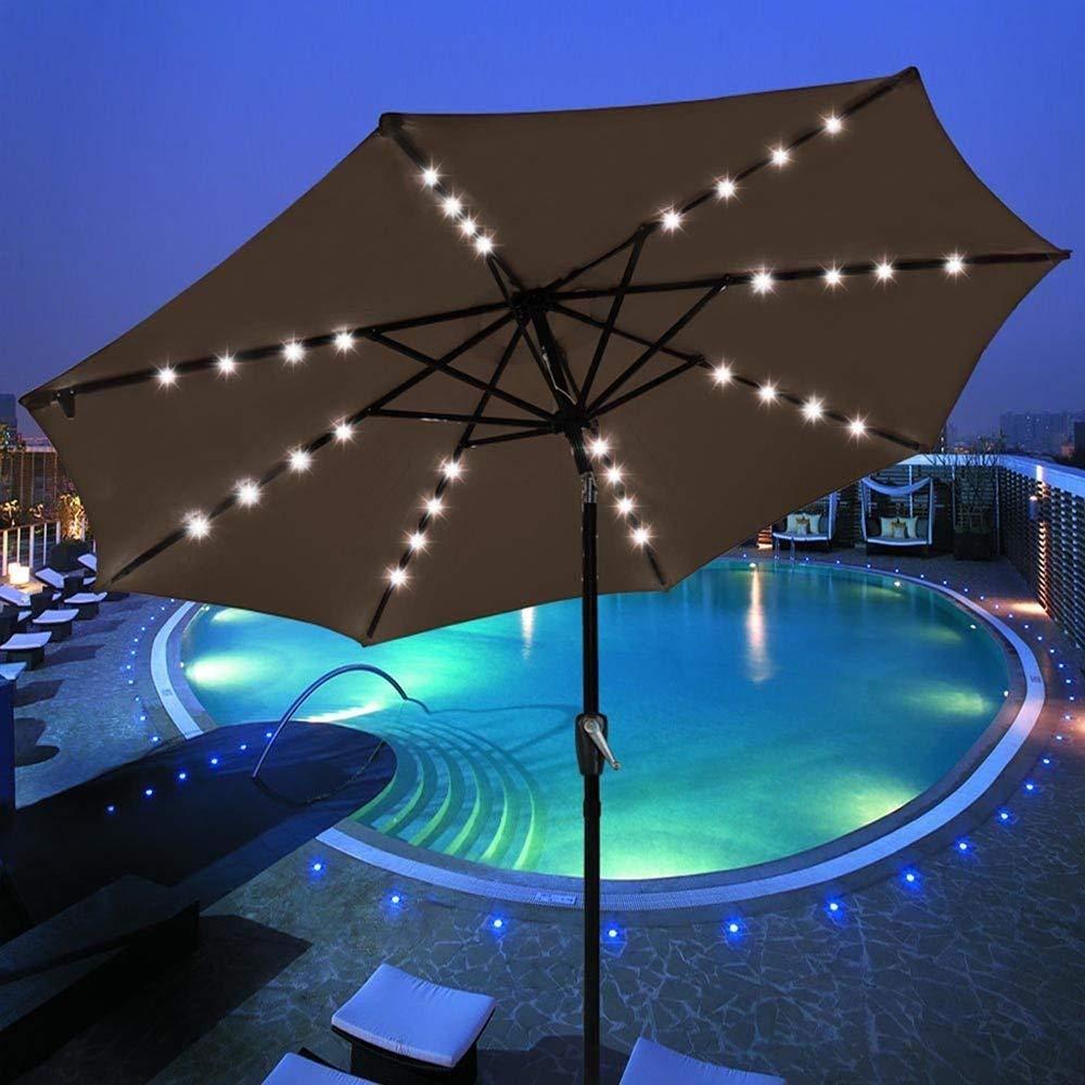 LeeMas Inc 9 ft Solar LED Patio Umbrella Canopy 8 Ribs Chocolate Dark Brown for Garden Yard Cafe Coffee Shop Bistro Restaurant