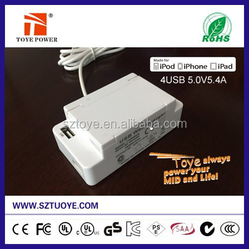 Toye super fast 5V 5.4A 4 port cell phone desktop usb wall charger /usb wall power adapter with safty switch