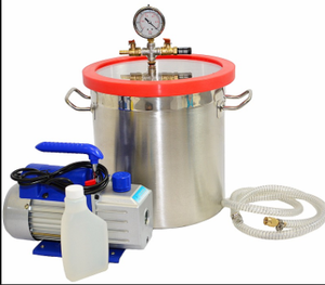 The Canada best seller 1 stage 110v/120v/60hz 1/3hp high pressure 5 cfm vacuum pump and 3 gal vacuum degassing chamber