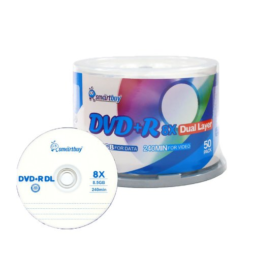 Smartbuy 8.5gb/240min 8x DVD+R DL Dual Layer Double Layer Logo Blank Media Disc Spindle (50-Disc)