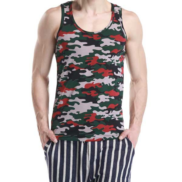 350ee95acaf6d Get Quotations · New Arrival Camo Gym Tank Top O Collar Gym Stringer  Clothing Cotton Workout Tank Top Fitness