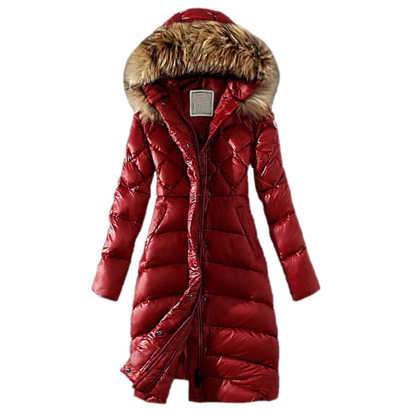 1bcd89271ee0 Buy Winter White Duck Down Jackets Women Warm Slim Large Fur Collar Hooded  Down Parkas Long Down Coats Outerwear Womens Clothings in Cheap Price on ...