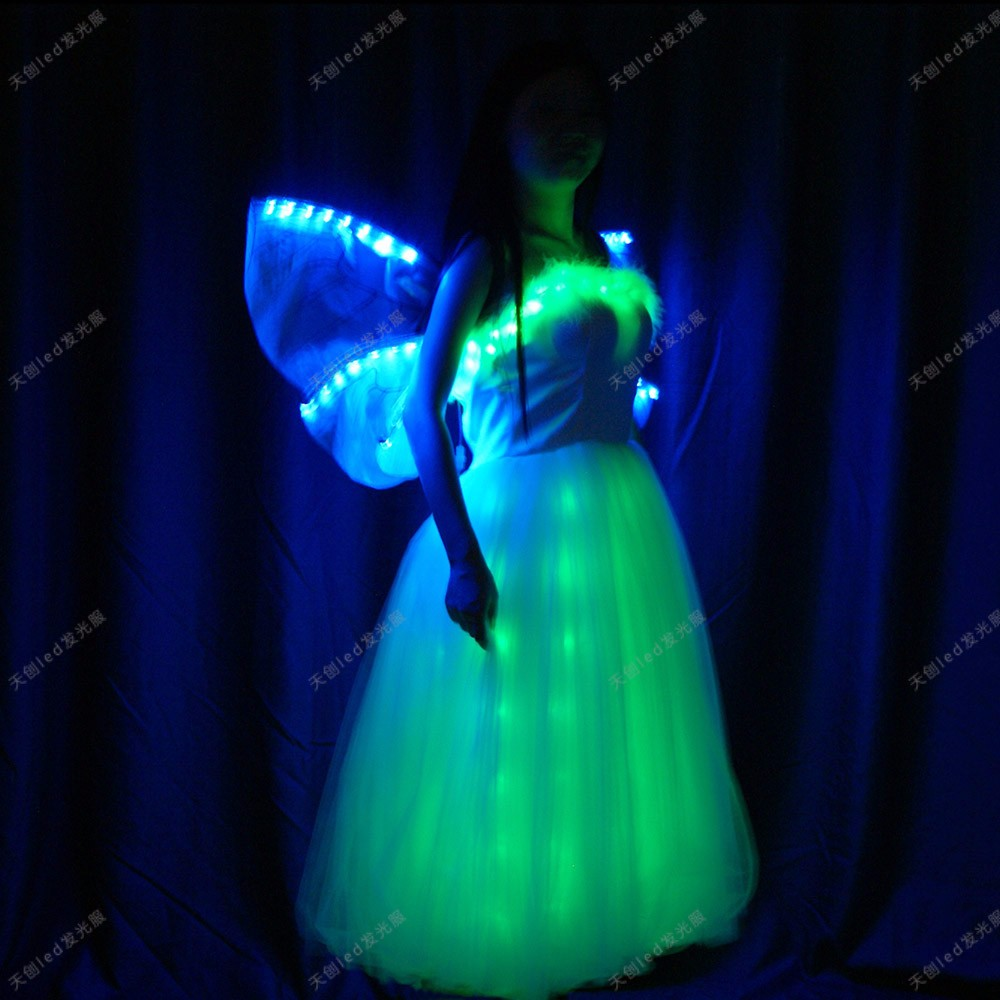 led wedding dress light prom dresses