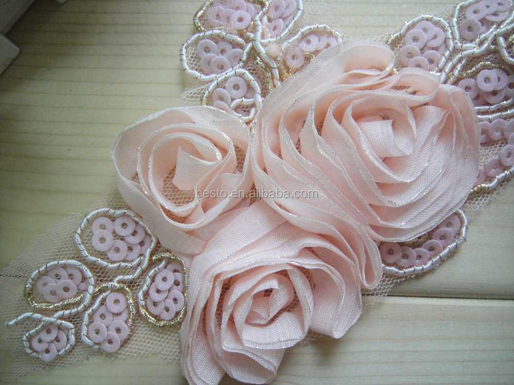 Moda vintage australia custom tre di chiffon rosa fiore applique