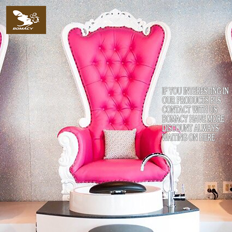 Bomacy-Pink throne royal luxury used spa pedicure chair with low price