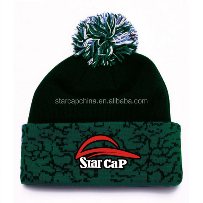100%acrylic Beanie Winter Hat With Pompom /top Ball/fashion Knit ...