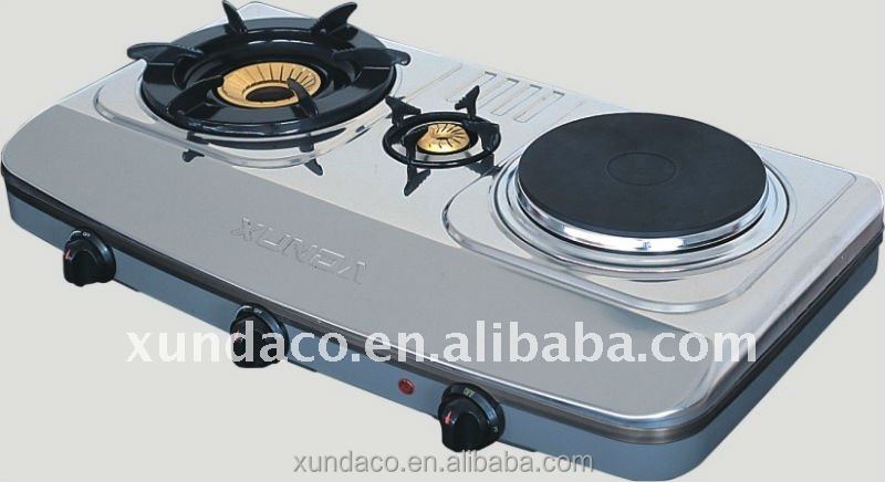 2 burner stainless steel gas stove with hotplate