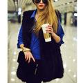 Elegant Women Fur V Neck Slim Long Plus Size Faux Fur Vest 2016 Fashion Solid Color