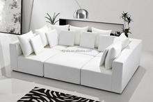 2017 Fashional white leather corner sofa is used by genuine leather and solid wood to be finished for living room furniture