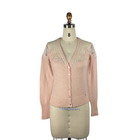 High quality ladies wool mohair pink fancy lace applique cardigan sweater