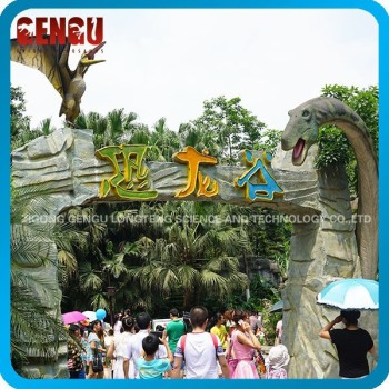 Kids Amusement Park Attractive Fiberglass Dinosaur Park Door