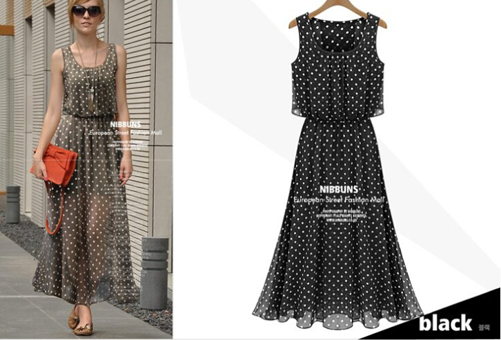 be2774f9a277 Get Quotations · 2015 New Arrival Women Long Chiffon Sexy Dot Print Dresses
