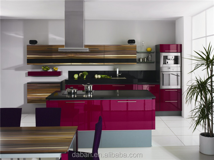 Gloss Purple Kitchen Cabinets