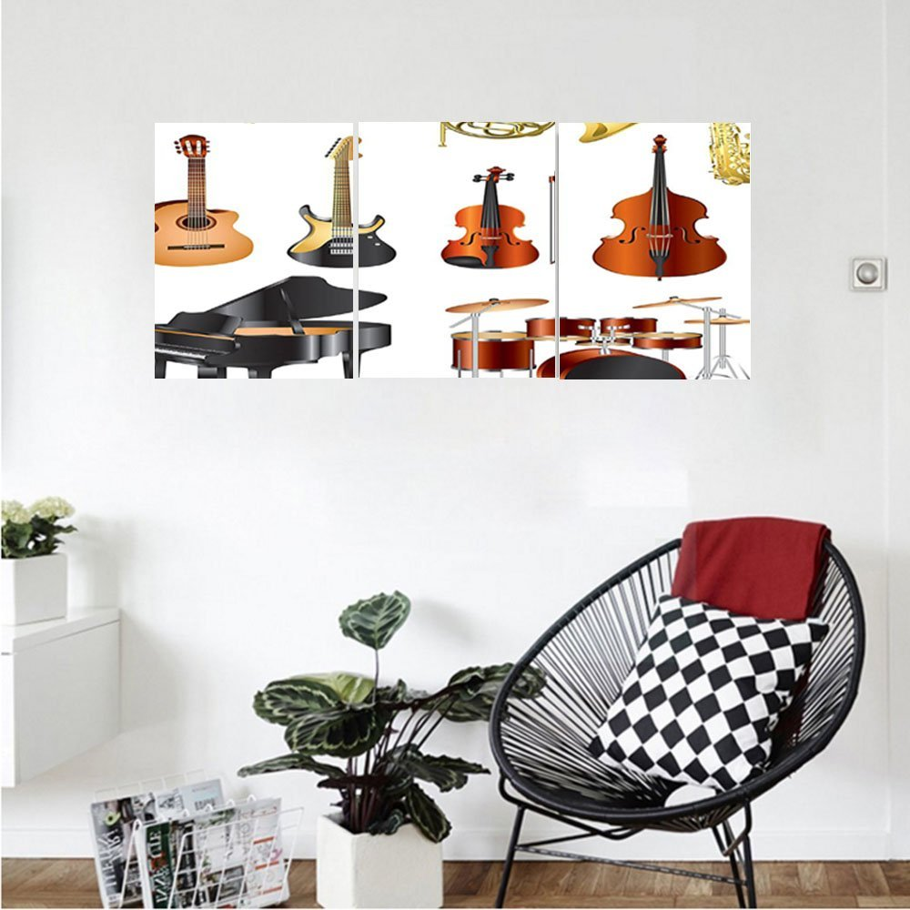 Liguo88 Custom canvas Music Decor Wall Hanging Collection Of Musical Instruments Symphony Orchestra Concert Composition Bedroom Living Room Decor