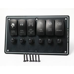 Universal Intelligent 6 Gang Rocker Switch Panel +12V-24V for car bus van motorcycle truck
