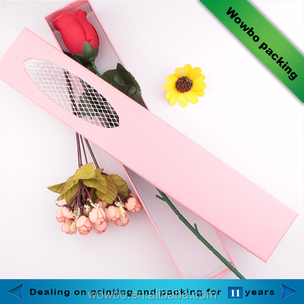 Long flowers si ngle rose packaging gift box with clear window