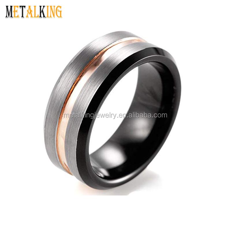 2b9f78883d18 8mm para hombre boda banda dos tono anillo de carburo de tungsteno negro y  rosa chapado