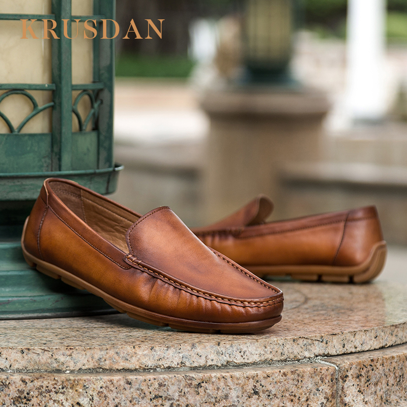 for calfskin KRUSDAN shoes name Brand leather men casual loafers xZSF0w