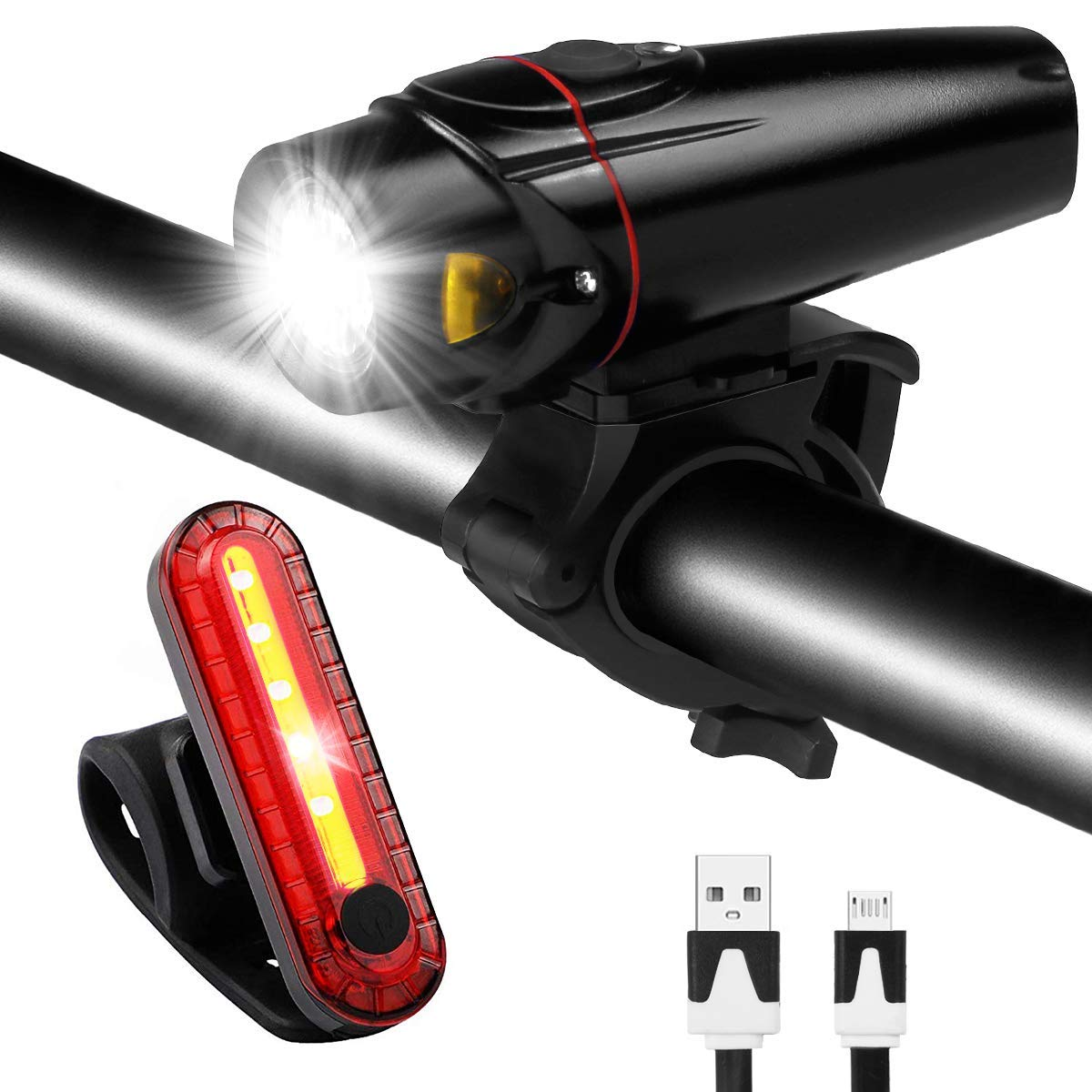 Bike Light Set USB Rechargeable Waterproof Bicycle Front and Rear Lights Safety LED Night Headlight Taillight for Mountain Road & Kids Bicycles