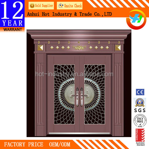 Traditional Door Head Frame Circle Mesh Pattern Imitated Copper Color Steel Stainless Door