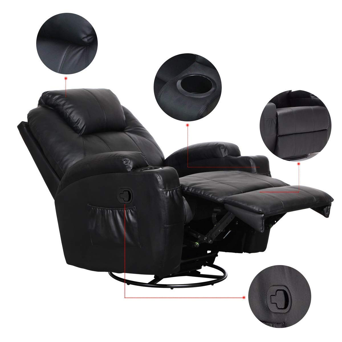 Massage Recliner Chair, 360 Degree Swivel and Heated Recliner Bonded Leather Sofa Chair with 8 Vibration Motors£¬Black