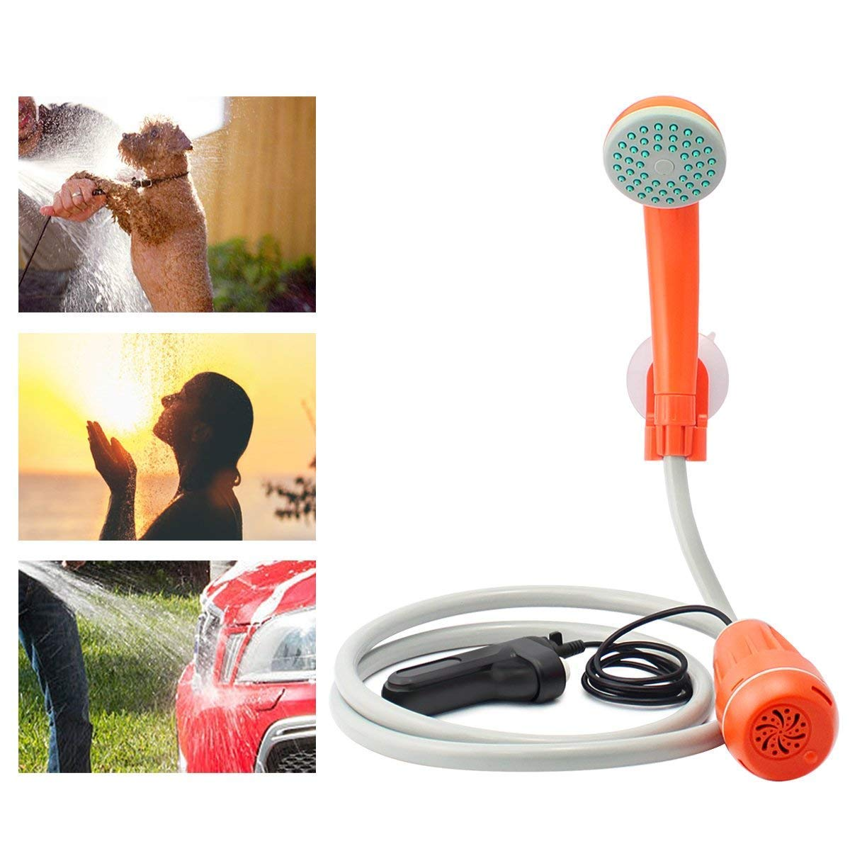 Bearham Portable Outdoor Camping Shower, Rechargeable Battery Powered Shower, Handheld Electric Shower for Outdoor, Camping, Traveling Hiking, Car Washing, Plants Watering, Pet Cleaning
