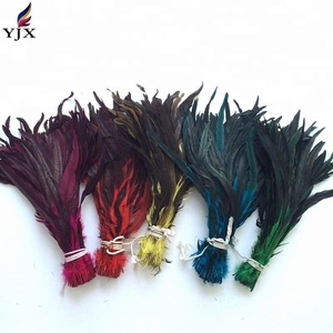 Free shipping 100pcs/bag 40-45cm dyed colourful rooster tail feather