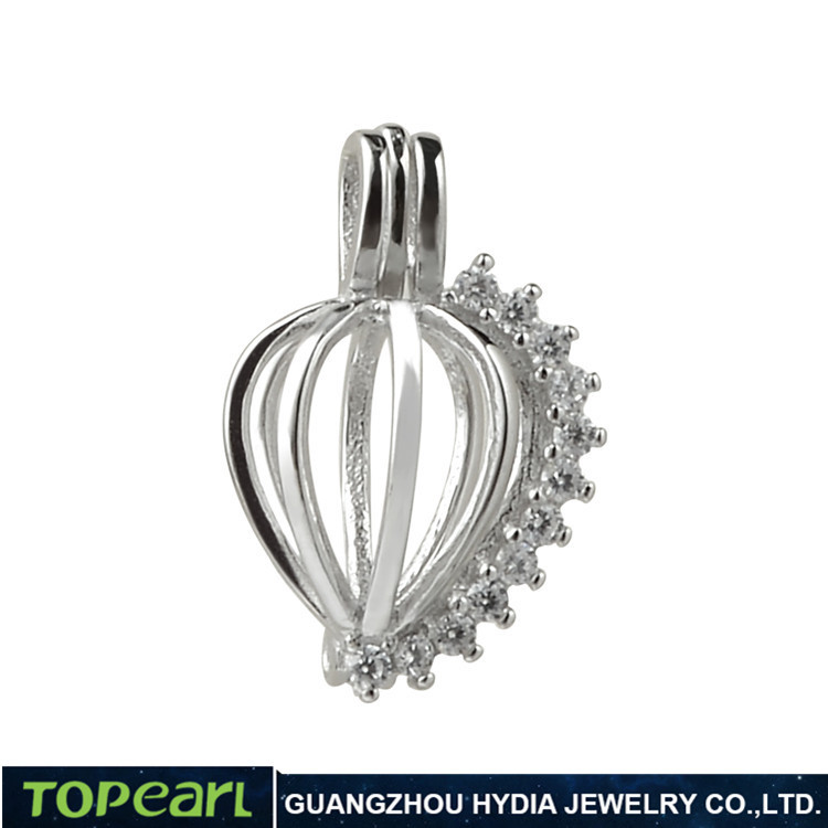 Topearl Jewelry SWP07 Clear Cubic Zirconia 925 Sterling Silver Love Wish Pearl Pendant Sparkling Heart Cage