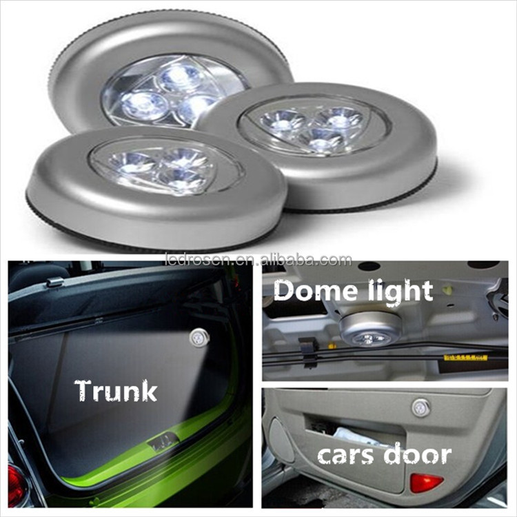 High Quality Bright Battery Operated 3 Leds Small Push Light Car Dome