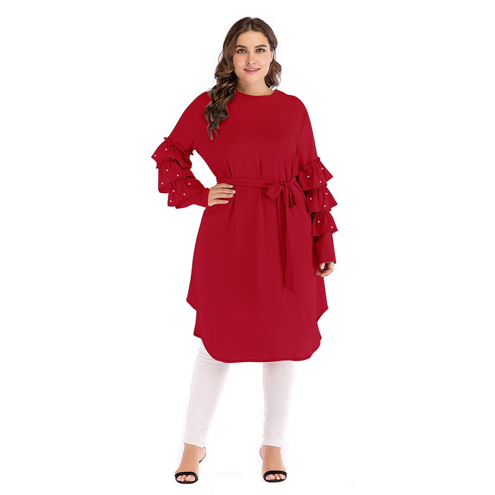 Muslim Red Color Islamic Long Sleeve Top Plus Size Muslim Women Long Tunic Tops For Women Blouse