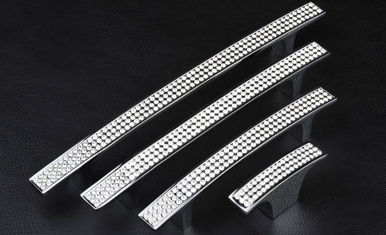 10pcs/box 96mm Clear Diamond K9 Crystal <strong>Handle</strong> With Zinc Alloy Chrome Metal Part R6014