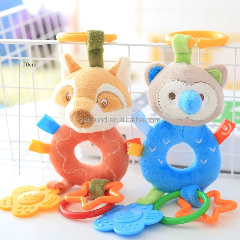 Fox bear baby hand rattle teether safety plush soft stuffed care standard CE toy