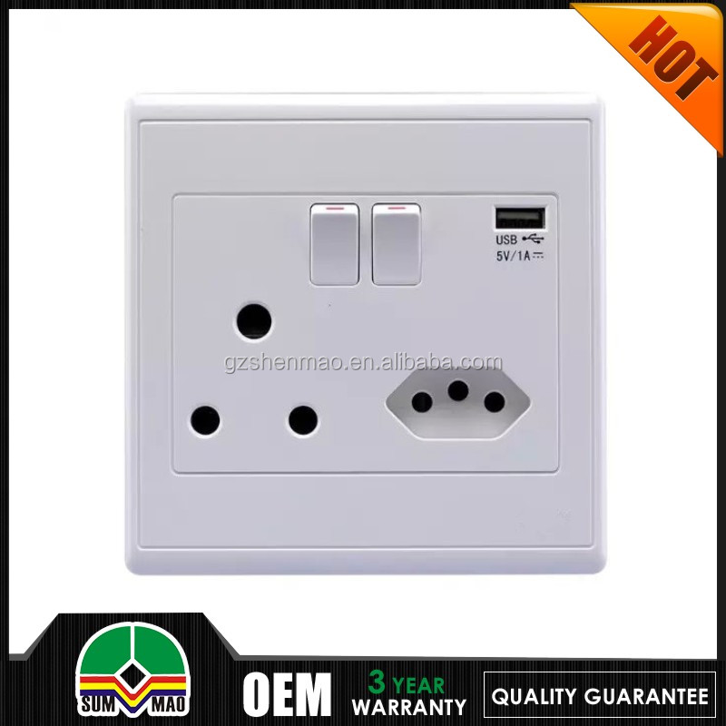 2015 New Type D & M South Africa / India Twins 2 x USB ports Wall Switch Socket 250V 16A socket switch