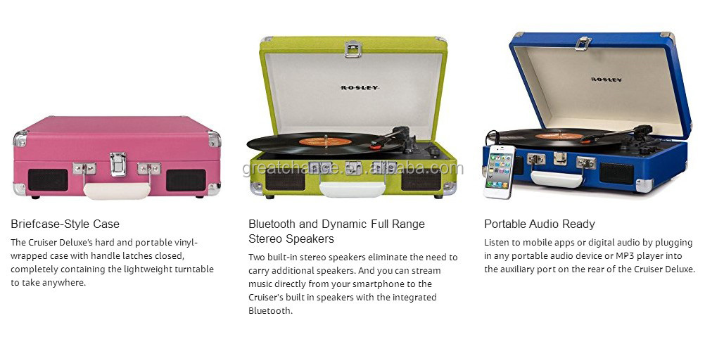 CR8005D-BK Cruiser Deluxe Portable 3-Speed Turntable with Bluetooth, Black briefcase style