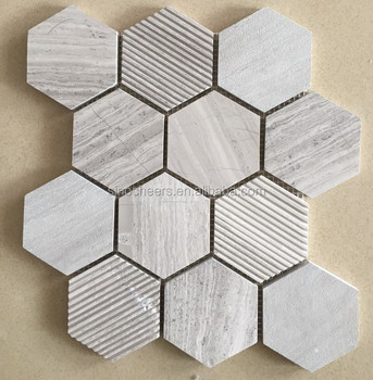 Wooden Grey Hexagon Stone Marble Mosaic Tile For Kitchen Wall