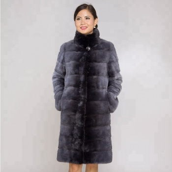 High quality Customizable Women's Winter Real natural Mink Fur Coat Grey Color Fashion Luxury Fur Coat mink For Female