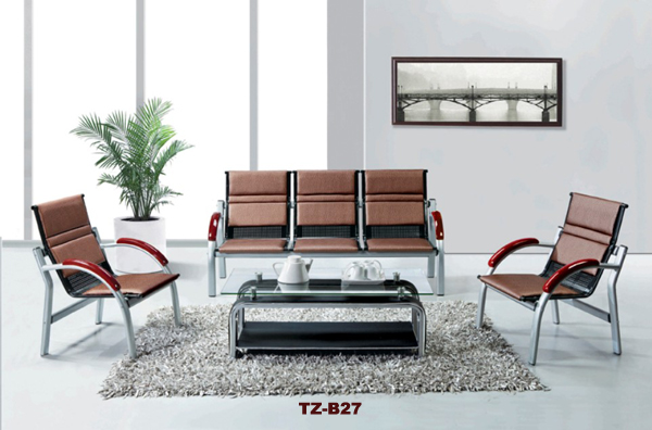cheap price chromed plated steel leg leather sofa