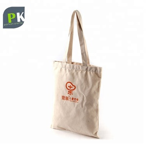 6oz 100% Cotton Handle Nature Color Canvas Standard Size Cotton Tote Bag