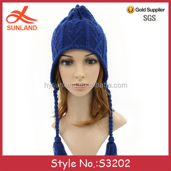 S3202 fashion men womens knitted braids earflap winter hats with two  strings on side 6fc5abc7e55