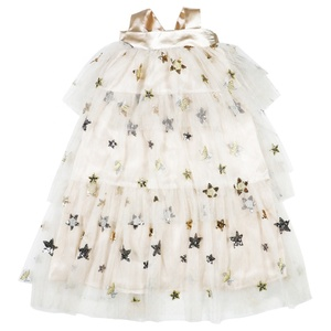 Wholesale Mother And Daughter Matching Clothes Beige Sequined Star Tulle Girls Party Princess Dresses