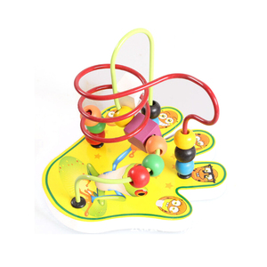 FQ brandtoys for kids green crocodile design learning toys small wood material hand beaded coasters model roller coaster toy