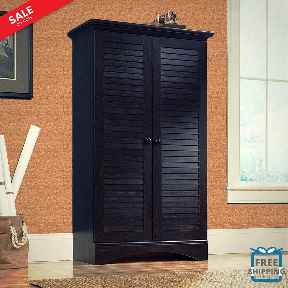 Get Quotations Armoire Wardrobe Closet Wood Multi Purpose Storage Cabinet Louvered Doors4 Adjule Shelves Freestanding Organizer Home