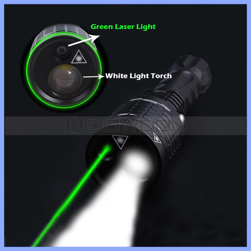 2 in 1 Torch Light & Green Laser 1200 Lumen 3 Mode Zoomable Flash Lite Rechargeable LED Flashlight