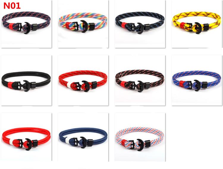 black/silver/gold/blur/red plating anchor Nylon rope bracelet men jewelry anchor bracelet