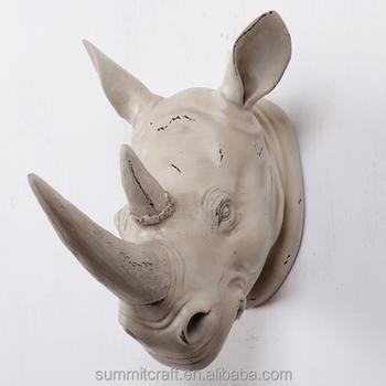 Resin Modern Wall Animal Head Sculpture Rhinoceros Wall Decoration ...