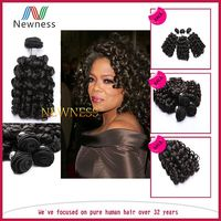 Unprocessed 100% virgin indian hair bouncy curls, oprah curl remy hair, baby curl human hair