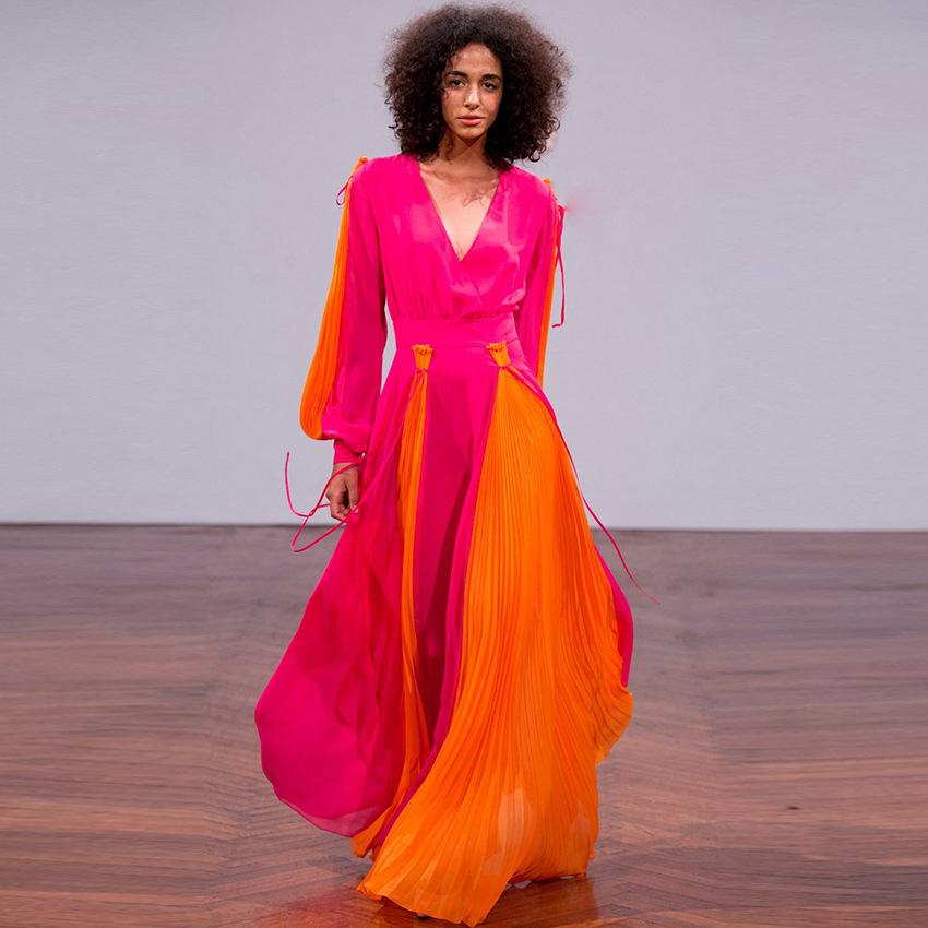 37e9f479f52 F1795 с длинным рукавом v-образным вырезом вечернее платье сексуальное  Столкновение цвет женское платье