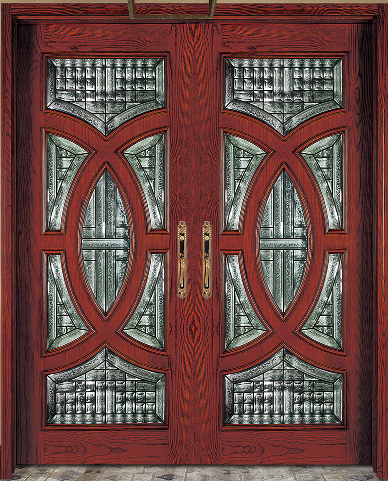E Top Wood Door And Window Design Manufacture Red Mahogany Front