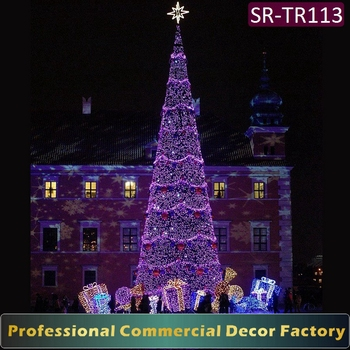 customize 32ft 35ft 38ft outdoor large giant christmas tree with purple light decoration