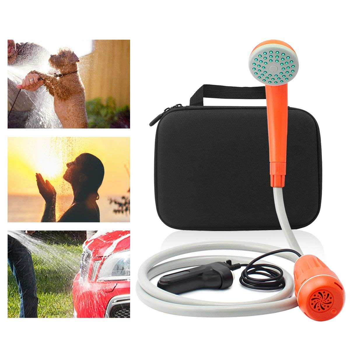 Bearham Portable Outdoor Shower with Carry Bag, Rechargeable Battery Powered Shower, Handheld Electric Shower for Outdoor, Camping, Traveling, Hiking, Pet Cleaning